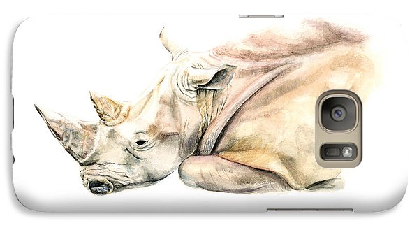 Galaxy Case featuring the painting Small Colour Rhino by Elizabeth Lock