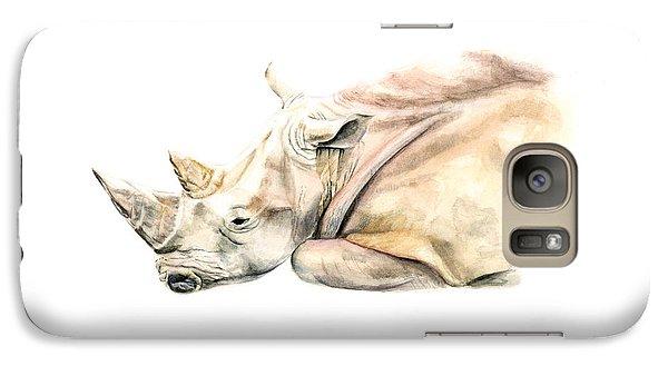 Rhinocerus Galaxy S7 Case - Small Colour Rhino by Elizabeth Lock