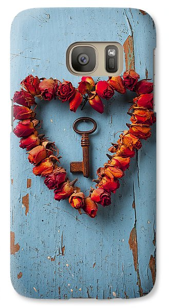 Small Rose Heart Wreath With Key Galaxy S7 Case