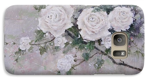 Galaxy Case featuring the painting Smell The Roses  by Laura Lee Zanghetti