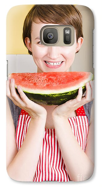 Smiling Young Woman Eating Fresh Fruit Watermelon Galaxy S7 Case by Jorgo Photography - Wall Art Gallery