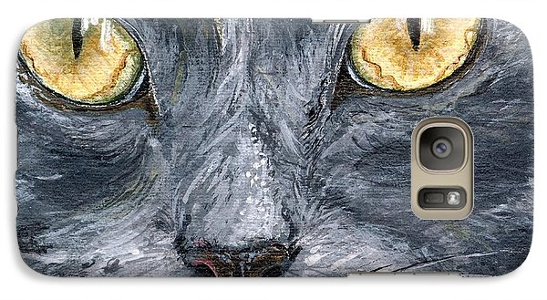 Galaxy Case featuring the painting Smokey by Mary-Lee Sanders