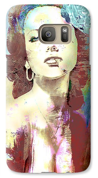 Galaxy Case featuring the digital art Smoking Chick by Greg Sharpe