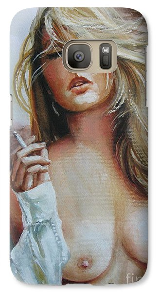 Galaxy Case featuring the painting Smoking Woman by Elena Oleniuc
