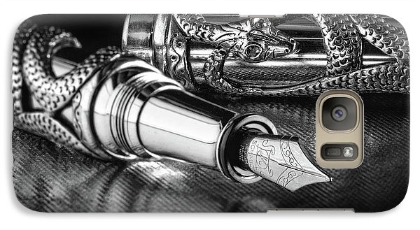 Snake Pen In Black And White Galaxy Case by Tom Mc Nemar