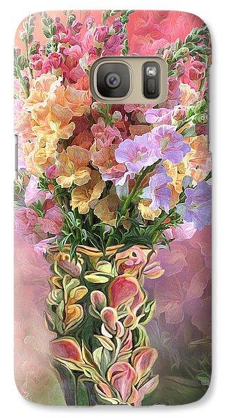 Galaxy Case featuring the mixed media Snapdragons In Snapdragon Vase by Carol Cavalaris