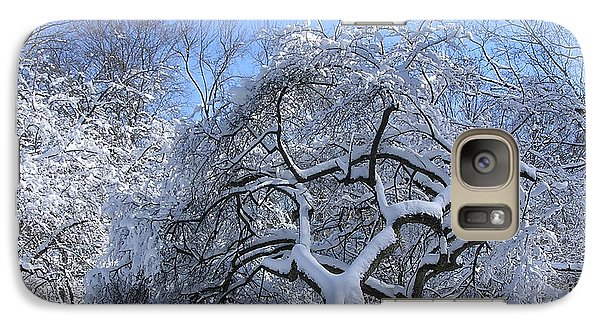Galaxy Case featuring the photograph Snow-covered Sunlit Apple Trees by Byron Varvarigos