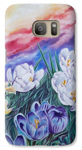 Galaxy Case featuring the painting Snow Crocus by Sigrid Tune