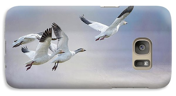 Galaxy Case featuring the photograph Snow Geese In Flight by Bonnie Barry