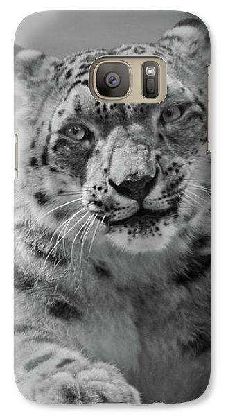 Galaxy Case featuring the photograph Snow Leopard  Bw by Sandy Keeton