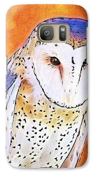 Galaxy Case featuring the digital art White Face Barn Owl by Tracie Kaska