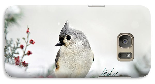 Snow White Tufted Titmouse Galaxy S7 Case