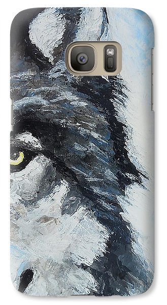 Galaxy Case featuring the painting Snow Wolf by Edwin Alverio