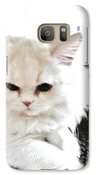 Galaxy Case featuring the photograph Snowball Is 92 Year Old Widows Cat by Marsha Heiken
