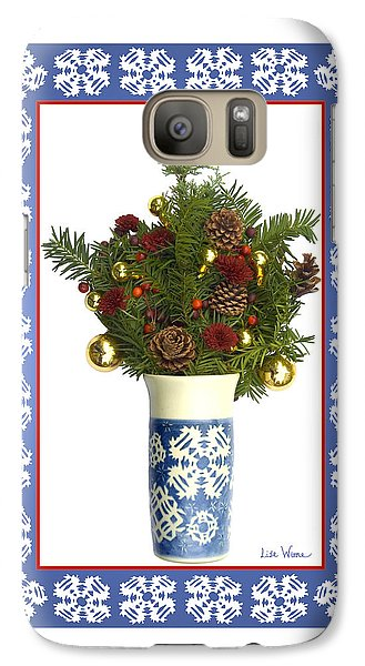 Galaxy Case featuring the digital art Snowflake Vase With Christmas Regalia by Lise Winne