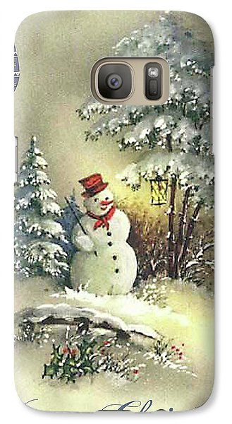 Galaxy Case featuring the digital art Snowman Christmas Card by Greg Sharpe