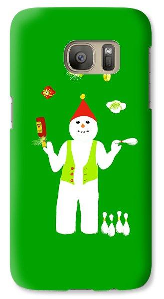 Galaxy Case featuring the digital art Snowman Juggler by Barbara Moignard