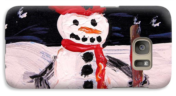 Galaxy Case featuring the painting Snowman Under The Stars by Mary Carol Williams