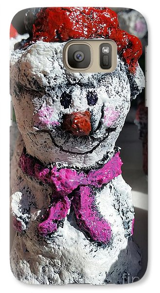 Galaxy Case featuring the sculpture Snowman Pink by Vickie Scarlett-Fisher