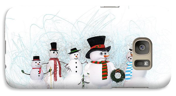 Galaxy Case featuring the painting Snowmen by Methune Hively