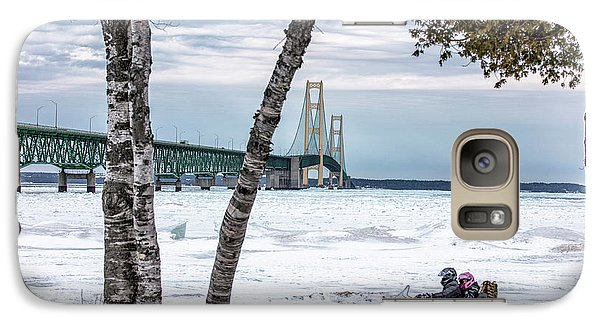 Galaxy Case featuring the photograph Snowmobile Michigan  by John McGraw