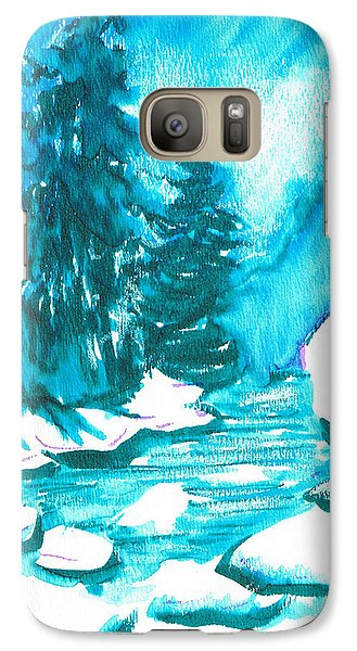 Galaxy Case featuring the mixed media Snowy Creek Banks by Seth Weaver