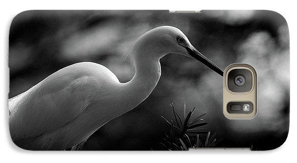 Galaxy Case featuring the photograph Snowy Egret Bw by Travis Burgess