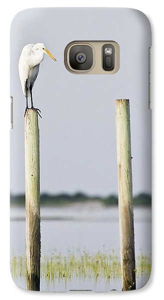 Galaxy Case featuring the photograph Snowy Egret On Pilings by Bob Decker