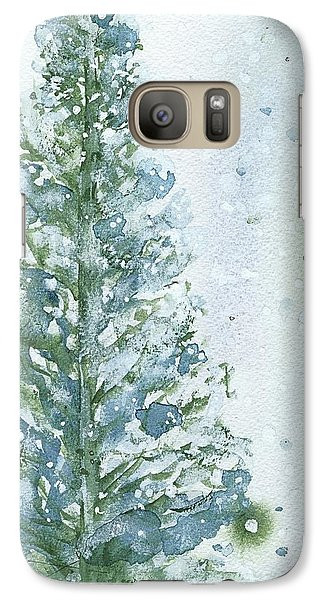 Galaxy Case featuring the painting Snowy Fir Tree by Dawn Derman