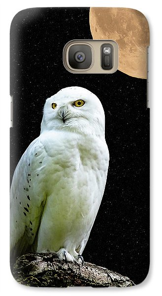 Galaxy Case featuring the photograph Snowy Owl Under The Moon by Scott Carruthers