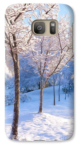 Galaxy Case featuring the painting Snowy Stroll by Dan Carmichael