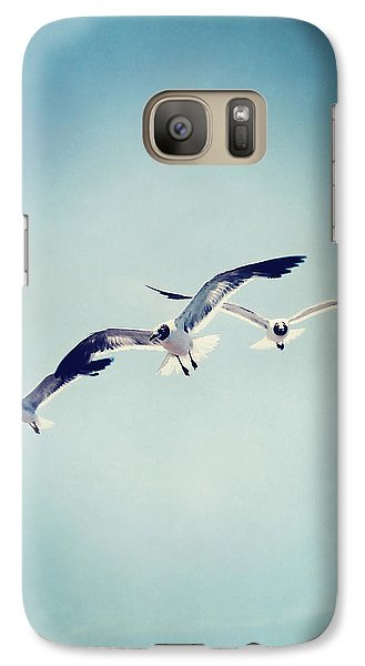 Galaxy Case featuring the photograph Soaring Seagulls by Trish Mistric