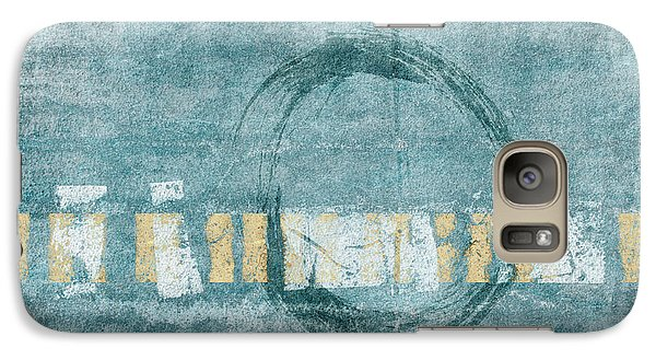 Galaxy Case featuring the photograph Soft Blue Enso Circle by Carol Leigh