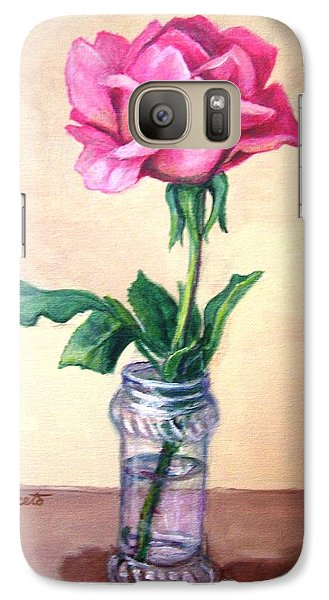 Galaxy Case featuring the painting Solo Rose by Laura Aceto