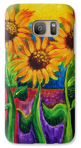Galaxy Case featuring the painting Sonflowers II by Holly Carmichael