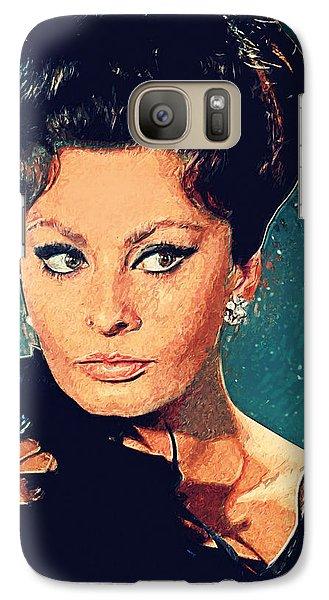 Sophia Loren Galaxy Case by Taylan Apukovska