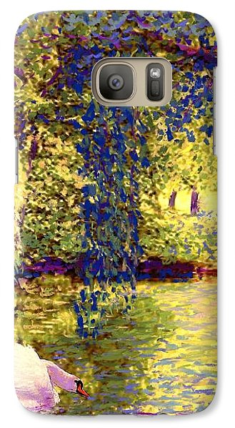 Galaxy Case featuring the painting Swans, Soul Mates by Jane Small