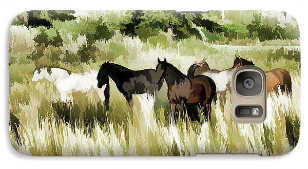 Galaxy Case featuring the mixed media South Dakota Herd Of Horses by Wilma Birdwell