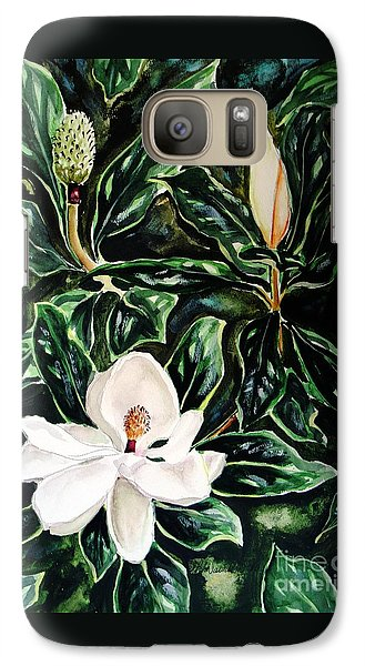 Galaxy Case featuring the painting Southern Magnolia Bud And Bloom by Patricia L Davidson