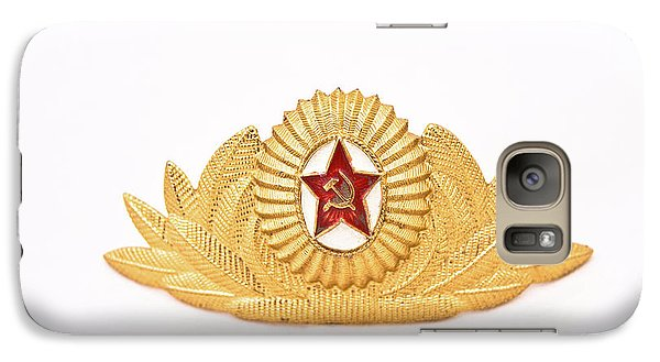 Galaxy Case featuring the photograph Soviet Army Officer Cap Badge by Yurix Sardinelly