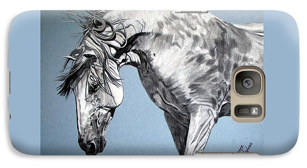 Galaxy Case featuring the drawing Spanish Horse by Melita Safran