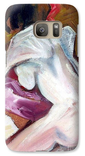 Galaxy Case featuring the mixed media Sparkle - Female Nude by Carolyn Weltman