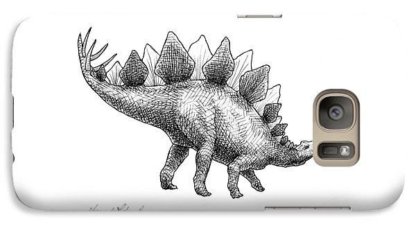 Spike The Stegosaurus - Black And White Dinosaur Drawing Galaxy S7 Case by Karen Whitworth