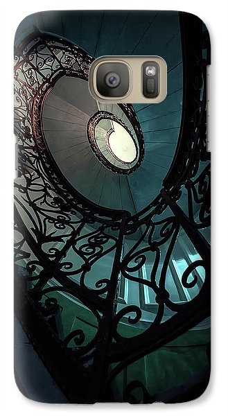 Galaxy Case featuring the photograph Spiral Ornamented Staircase In Blue And Green Tones by Jaroslaw Blaminsky