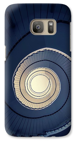 Galaxy Case featuring the photograph Spiral Staircase In Blue And Cream Tones by Jaroslaw Blaminsky