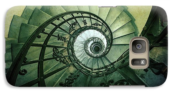 Galaxy Case featuring the photograph Spiral Stairs In Green Tones by Jaroslaw Blaminsky