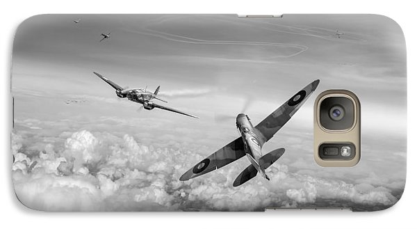 Galaxy Case featuring the photograph Spitfire Attacking Heinkel Bomber Black And White Version by Gary Eason