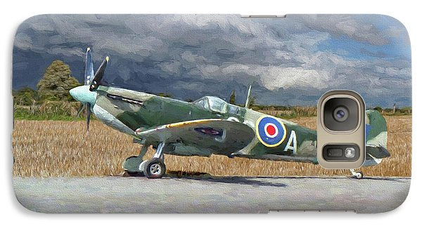 Galaxy Case featuring the photograph Spitfire Under Storm Clouds by Paul Gulliver
