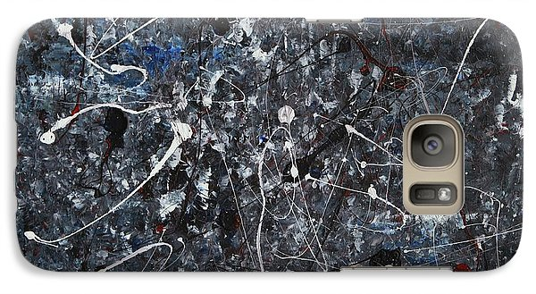 Galaxy Case featuring the painting Splattered - Grey by Jacqueline Athmann