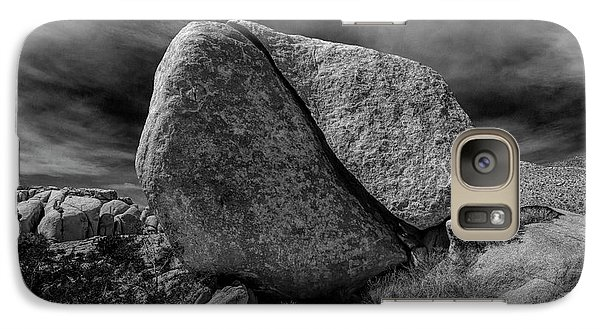 Galaxy Case featuring the photograph Split Rock In Black And White At Joshua Tree National Park by Randall Nyhof